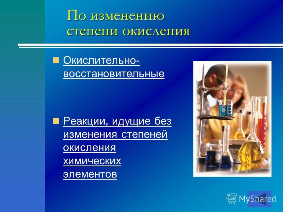 По изменению степени окисления Окислительно- восстановительные Окислительно- восстановительные Реакции, идущие без изменения степеней окисления химических элементов Реакции, идущие без изменения степеней окисления химических элементов