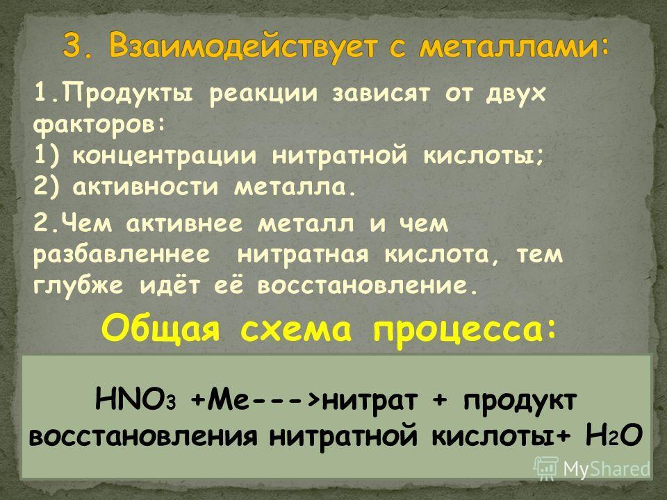 1.Продукты реакции зависят от двух факторов: 1) концентрации нитратной кислоты; 2) активности металла. 2.Чем активнее металл и чем разбавленнее нитратная кислота, тем глубже идёт её восстановление. Общая схема процесса: HNO 3 +Me--->нитрат + продукт