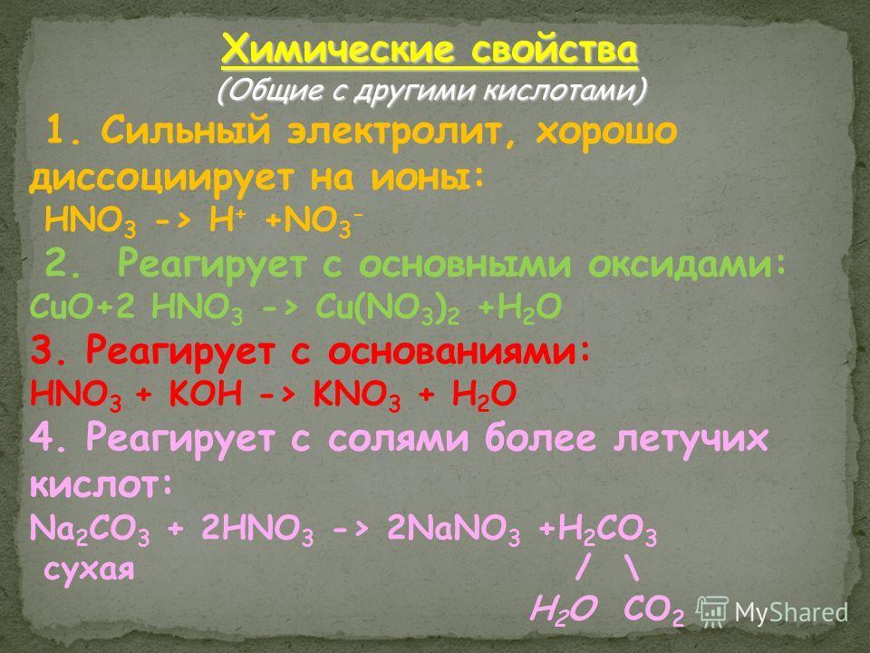 Химические свойства (Общие с другими кислотами) 1. Сильный электролит, хорошо диссоциирует на ионы: HNO 3 -> H + +NO 3 - 2. Реагирует с основными оксидами: СuO+2 HNO 3 -> Cu(NO 3 ) 2 +H 2 O 3. Реагирует с основаниями: HNO 3 + KOH -> KNO 3 + H 2 O 4.