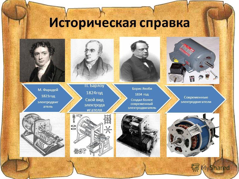 Историческая справка М. Фарадей 1821год электродвиг атель П. Барлоу 1824год Свой вид электродв игателя Борис Якоби 1834 год Создал более современный электродвигатель Современные электродвигатели