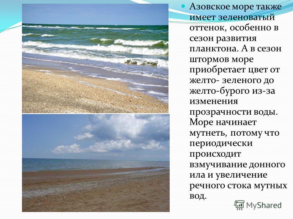 Азовское море также имеет зеленоватый оттенок, особенно в сезон развития планктона. А в сезон штормов море приобретает цвет от желто- зеленого до желто-бурого из-за изменения прозрачности воды. Море начинает мутнеть, потому что периодически происходи