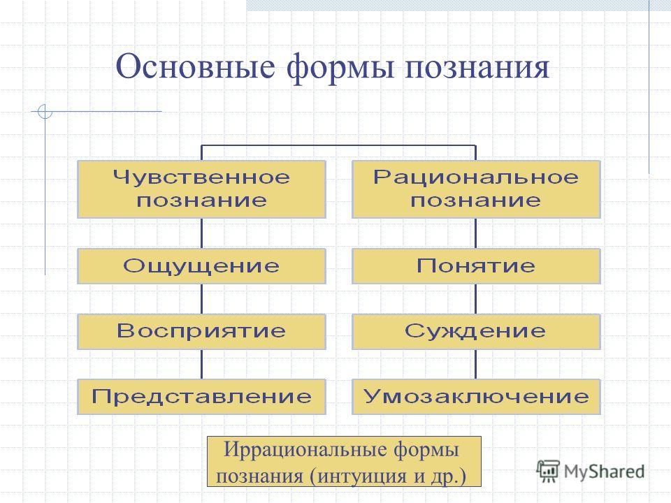 Основные формы познания Иррациональные формы познания (интуиция и др.)