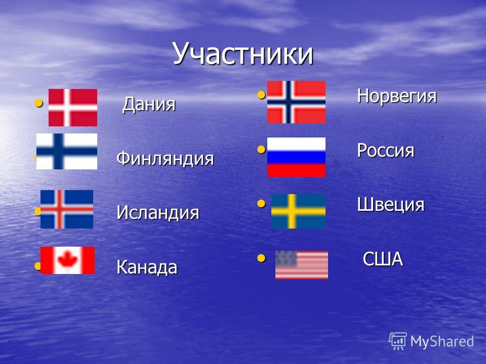 Участники Дания Дания Финляндия Финляндия Исландия Исландия Канада Канада Норвегия Норвегия Россия Россия Швеция Швеция США США