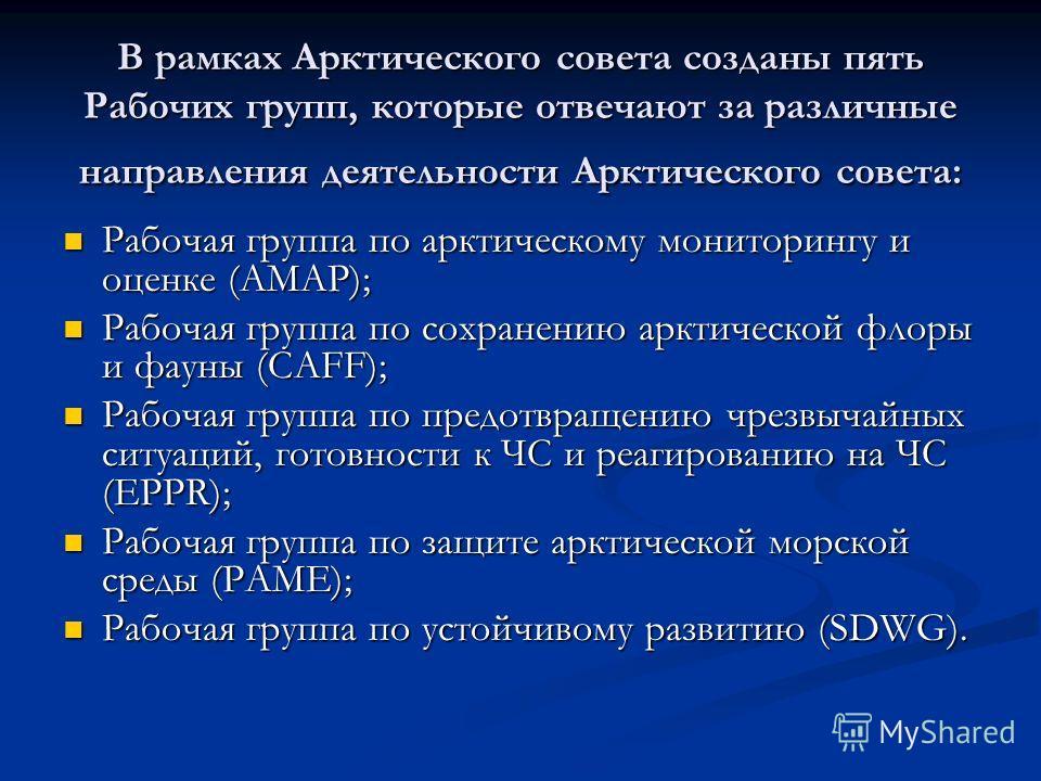 В рамках Арктического совета созданы пять Рабочих групп, которые отвечают за различные направления деятельности Арктического совета: Рабочая группа по арктическому мониторингу и оценке (AMAP); Рабочая группа по арктическому мониторингу и оценке (AMAP