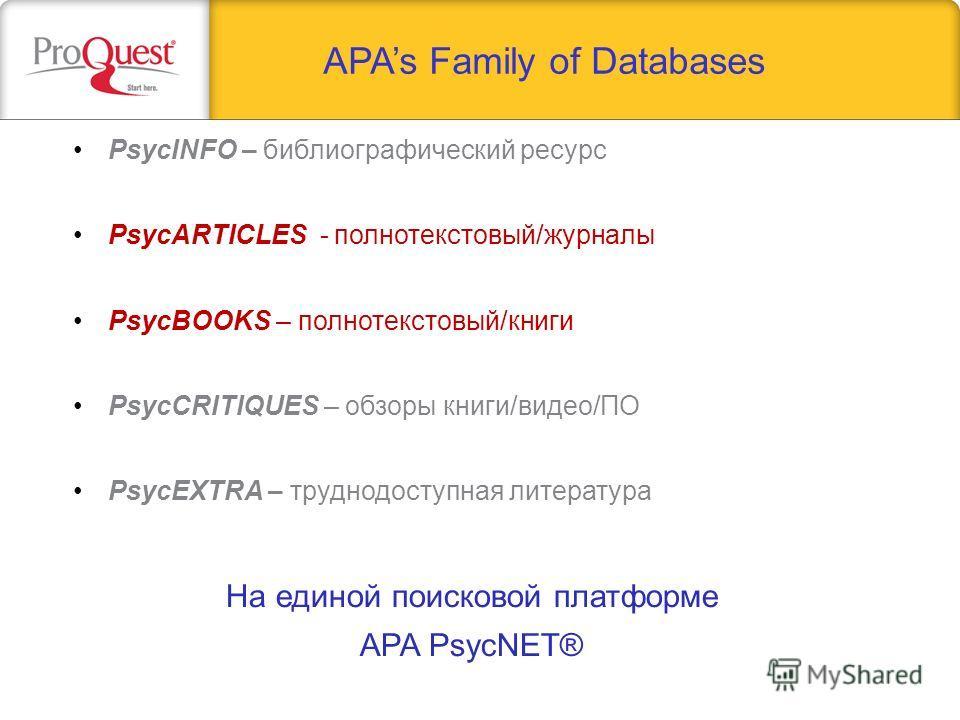 APAs Family of Databases PsycINFO – библиографический ресурс PsycARTICLES - полнотекстовый/журналы PsycBOOKS – полнотекстовый/книги PsycCRITIQUES – обзоры книги/видео/ПО PsycEXTRA – труднодоступная литература На единой поисковой платформе APA PsycNET