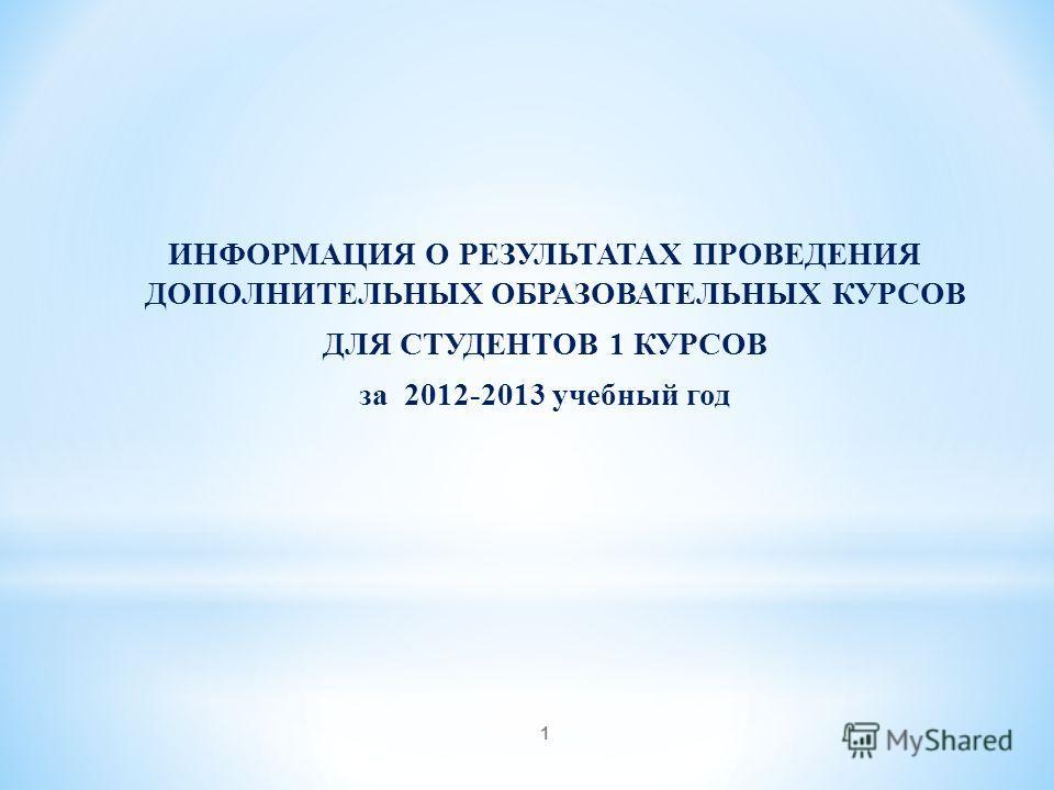 1 ИНФОРМАЦИЯ О РЕЗУЛЬТАТАХ ПРОВЕДЕНИЯ ДОПОЛНИТЕЛЬНЫХ ОБРАЗОВАТЕЛЬНЫХ КУРСОВ ДЛЯ СТУДЕНТОВ 1 КУРСОВ за 2012-2013 учебный год