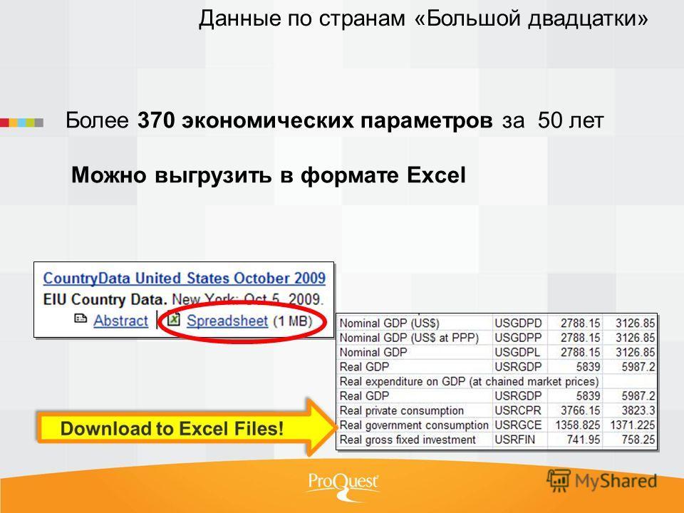 Более 370 экономических параметров за 50 лет Можно выгрузить в формате Excel Данные по странам «Большой двадцатки»