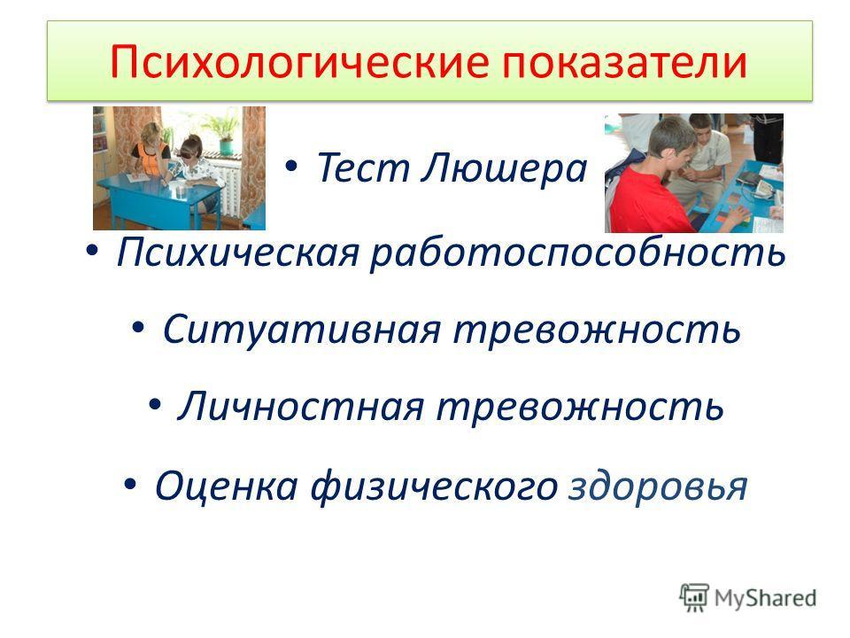 Психологические показатели Тест Люшера Психическая работоспособность Ситуативная тревожность Личностная тревожность Оценка физического здоровь я