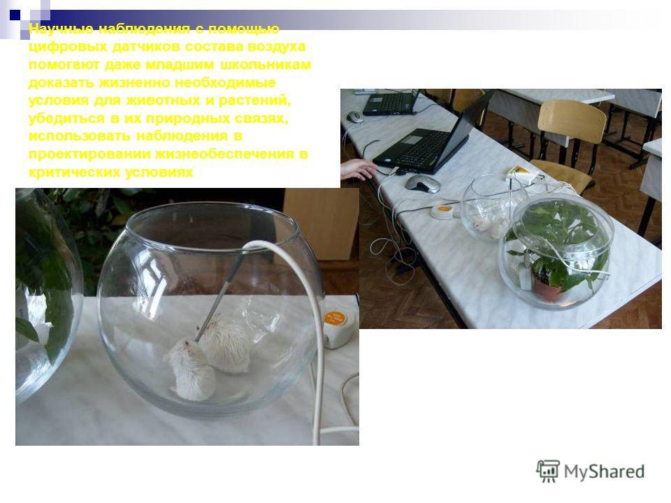 Научные наблюдения с помощью цифровых датчиков состава воздуха помогают даже младшим школьникам доказать жизненно необходимые условия для животных и растений, убедиться в их природных связях, использовать наблюдения в проектировании жизнеобеспечения