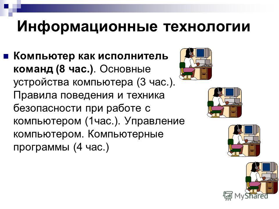 Информационные технологии Компьютер как исполнитель команд (8 час.). Основные устройства компьютера (3 час.). Правила поведения и техника безопасности при работе с компьютером (1час.). Управление компьютером. Компьютерные программы (4 час.)