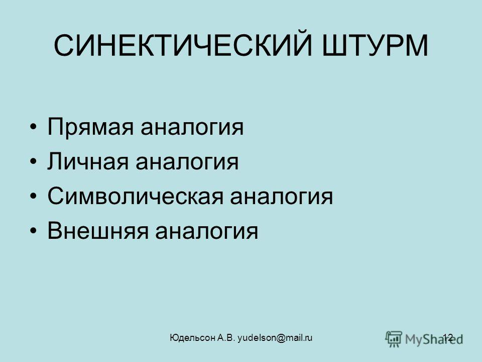 Юдельсон А.В. yudelson@mail.ru12 СИНЕКТИЧЕСКИЙ ШТУРМ Прямая аналогия Личная аналогия Символическая аналогия Внешняя аналогия