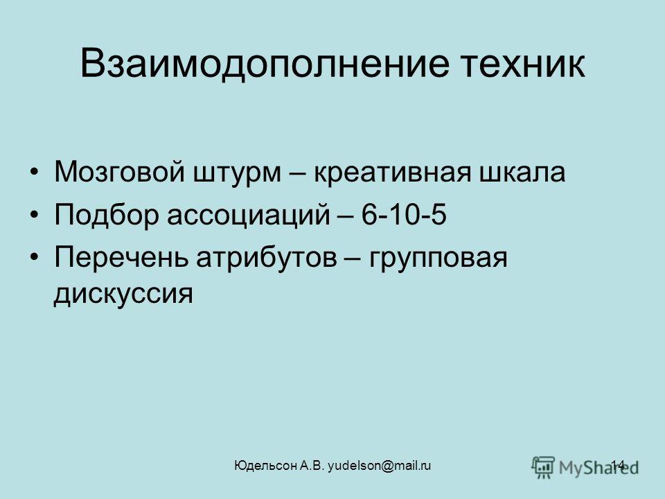 Юдельсон А.В. yudelson@mail.ru14 Взаимодополнение техник Мозговой штурм – креативная шкала Подбор ассоциаций – 6-10-5 Перечень атрибутов – групповая дискуссия
