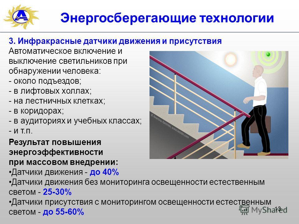 13 Энергосберегающие технологии 3. Инфракрасные датчики движения и присутствия Автоматическое включение и выключение светильников при обнаружении человека: - около подъездов; - в лифтовых холлах; - на лестничных клетках; - в коридорах; - в аудиториях