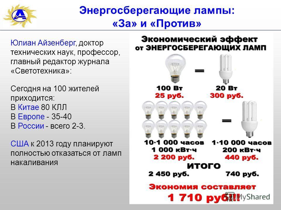 33 Энергосберегающие лампы: «За» и «Против» Юлиан Айзенберг, доктор технических наук, профессор, главный редактор журнала «Светотехника»: Сегодня на 100 жителей приходится: В Китае 80 КЛЛ В Европе - 35-40 В России - всего 2-3. США к 2013 году планиру