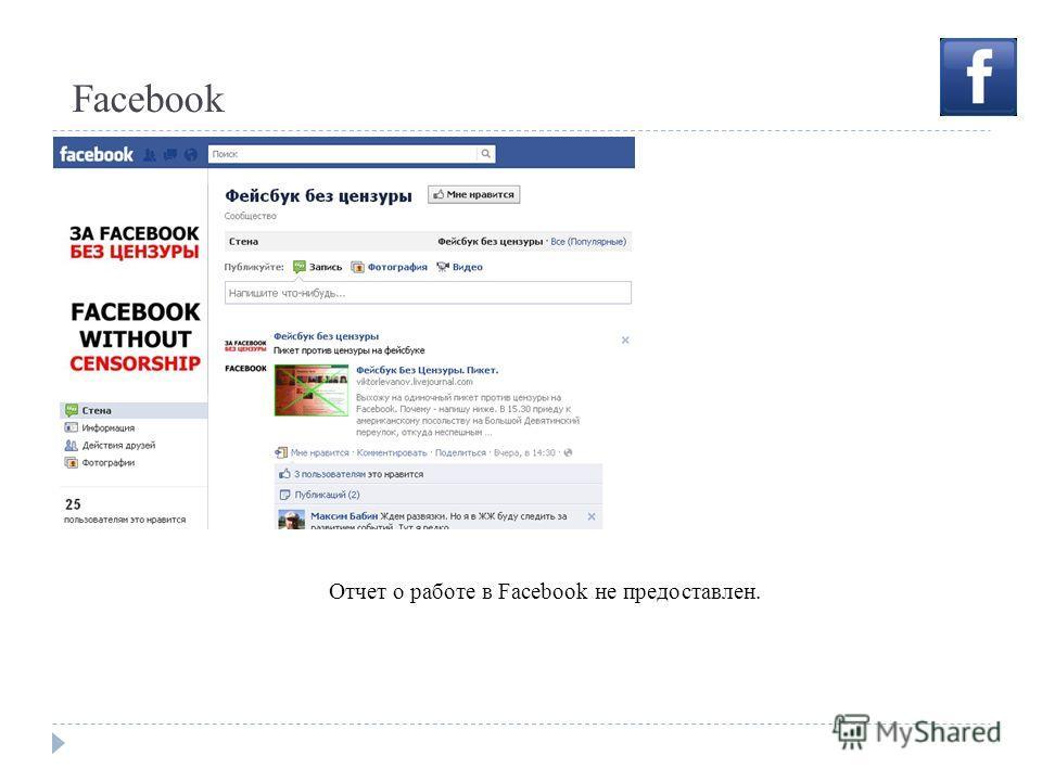 Facebook Отчет о работе в Facebook не предоставлен.