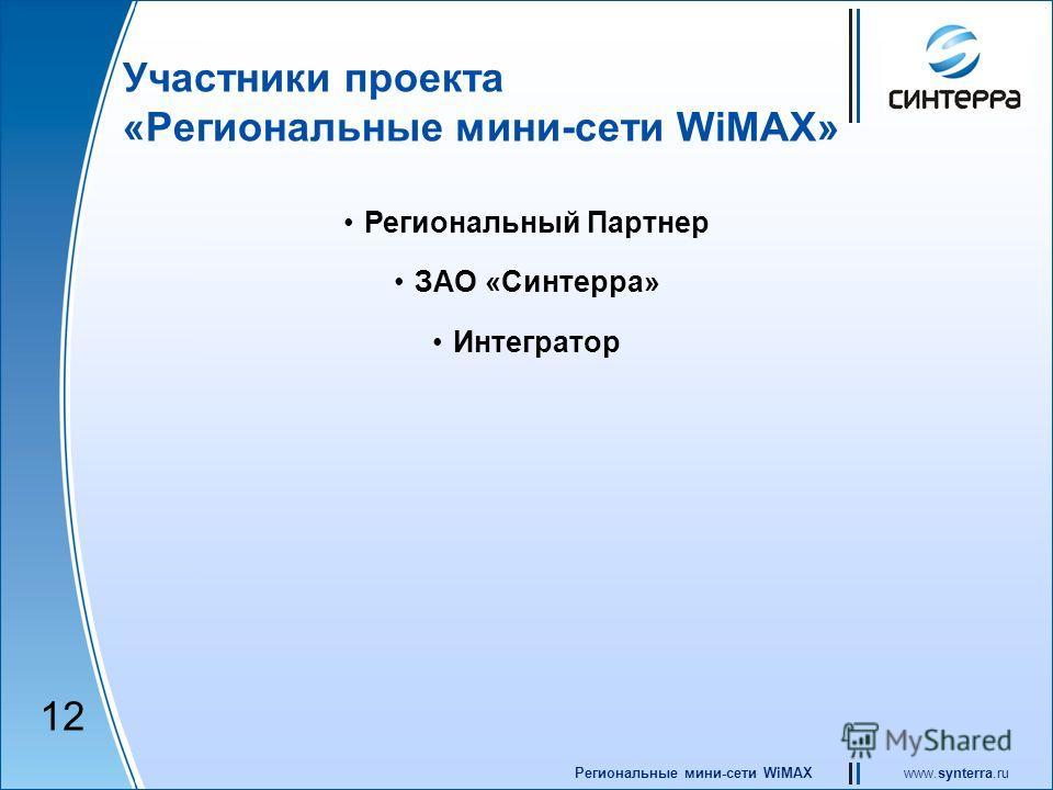 www.synterra.ruРегиональные мини-сети WiMAX Участники проекта «Региональные мини-сети WiMAX» Региональный Партнер ЗАО «Синтерра» Интегратор 12