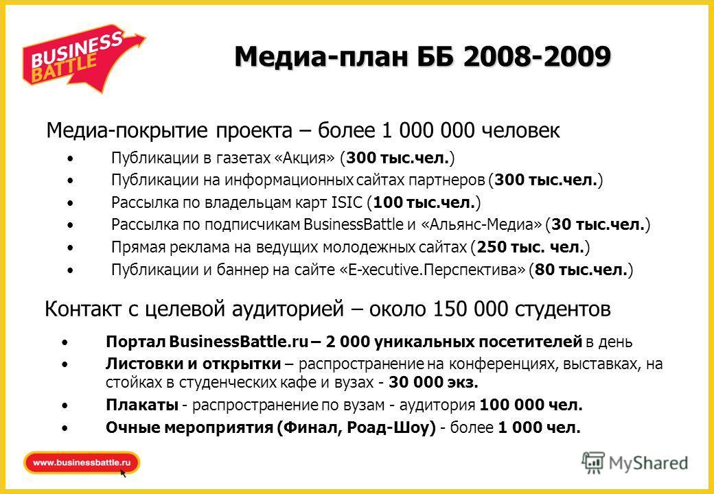 Медиа-план ББ 2008-2009 Контакт с целевой аудиторией – около 150 000 студентов Портал BusinessBattle.ru – 2 000 уникальных посетителей в день Листовки и открытки – распространение на конференциях, выставках, на стойках в студенческих кафе и вузах - 3