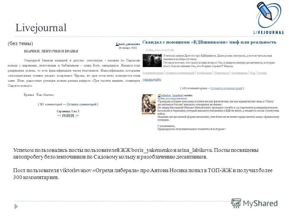 Livejournal Успехом пользовались посты пользователей ЖЖ boris_yakemenko и arina_labikova. Посты посвящены автопробегу белоленточников по Садовому кольцу и разоблачению десантников. Пост пользователя viktorlevanov «Огрехи либерала» про Антона Носика п