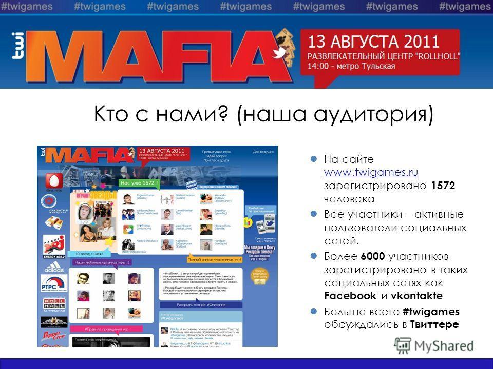 Кто с нами? (наша аудитория) На сайте www.twigames.ru зарегистрировано 1572 человека www.twigames.ru Все участники – активные пользователи социальных сетей. Более 6000 участников зарегистрировано в таких социальных сетях как Facebook и vkontakte Боль
