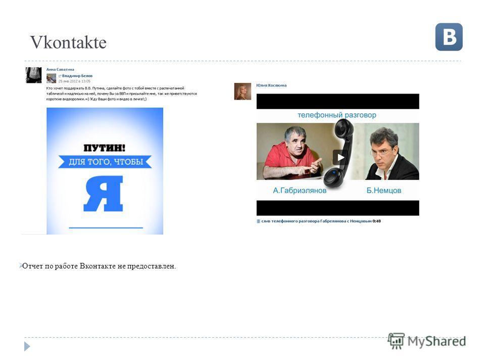 Vkontakte Отчет по работе Вконтакте не предоставлен.