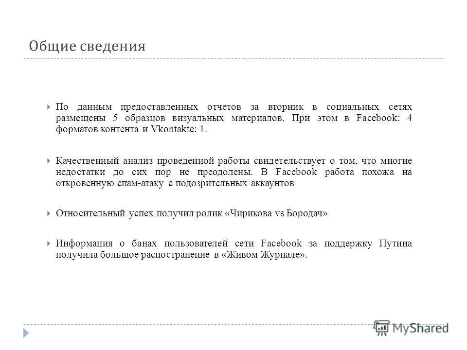 Общие сведения По данным предоставленных отчетов за вторник в социальных сетях размещены 5 образцов визуальных материалов. При этом в Facebook: 4 форматов контента и Vkontakte: 1. Качественный анализ проведенной работы свидетельствует о том, что мног