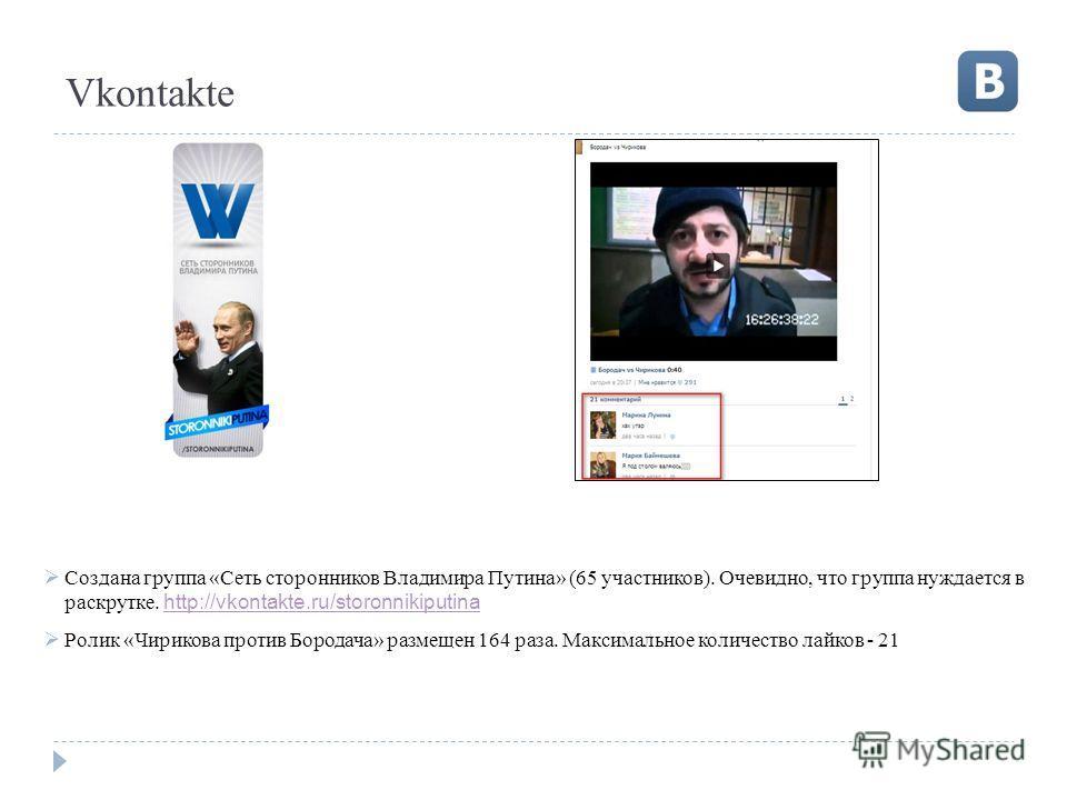 Vkontakte Создана группа «Сеть сторонников Владимира Путина» (65 участников). Очевидно, что группа нуждается в раскрутке. http://vkontakte.ru/storonnikiputina http://vkontakte.ru/storonnikiputina Ролик «Чирикова против Бородача» размещен 164 раза. Ма