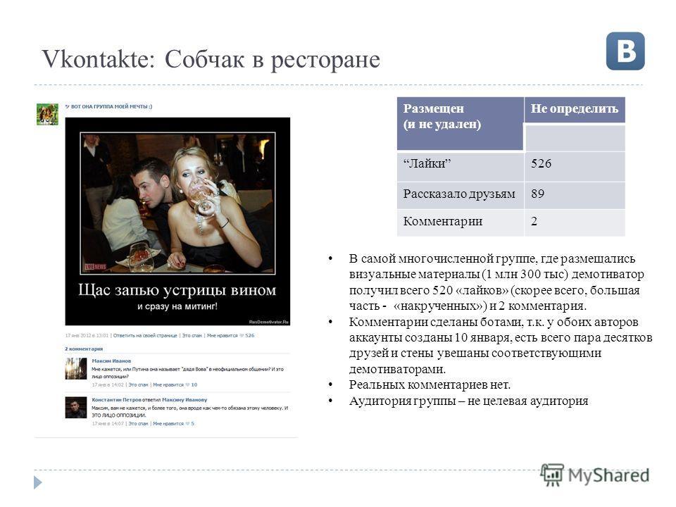 Vkontakte: Собчак в ресторане Размещен (и не удален) Не определить Лайки526 Рассказало друзьям89 Комментарии2 В самой многочисленной группе, где размещались визуальные материалы (1 млн 300 тыс) демотиватор получил всего 520 «лайков» (скорее всего, бо