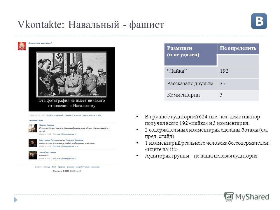 Vkontakte: Навальный - фашист Размещен (и не удален) Не определить Лайки192 Рассказало друзьям37 Комментарии3 В группе с аудиторией 624 тыс. чел. демотиватор получил всего 192 «лайка» и 3 комментария. 2 содержательных комментария сделаны ботами (см.