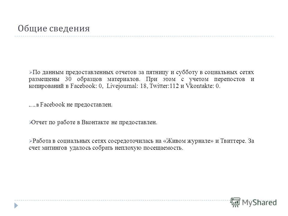 Общие сведения По данным предоставленных отчетов за пятницу и субботу в социальных сетях размещены 30 образцов материалов. При этом с учетом перепостов и копирований в Facebook: 0, Livejournal: 18, Twitter:112 и Vkontakte: 0. Отчет по работе в Facebo
