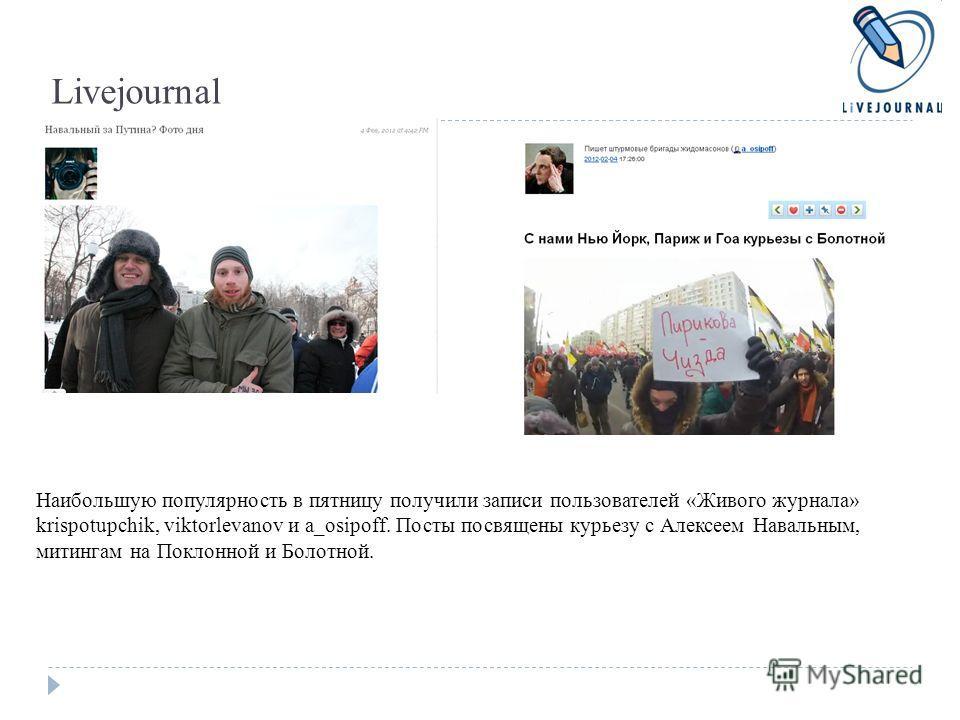 Livejournal Наибольшую популярность в пятницу получили записи пользователей «Живого журнала» krispotupchik, viktorlevanov и a_osipoff. Посты посвящены курьезу с Алексеем Навальным, митингам на Поклонной и Болотной.