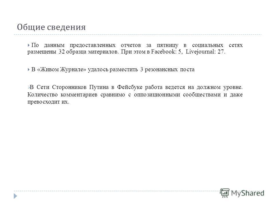 Общие сведения По данным предоставленных отчетов за пятницу в социальных сетях размещены 32 образца материалов. При этом в Facebook: 5, Livejournal: 27. В «Живом Журнале» удалось разместить 3 резонансных поста В Сети Сторонников Путина в Фейсбуке раб