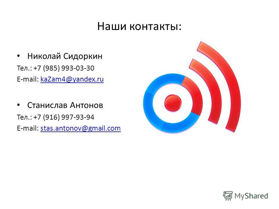 Николай Сидоркин Тел.: +7 (985) 993-03-30 E-mail: kaZam4@yandex.rukaZam4@yandex.ru Станислав Антонов Тел.: +7 (916) 997-93-94 E-mail: stas.antonov@gmail.comstas.antonov@gmail.com Наши контакты: