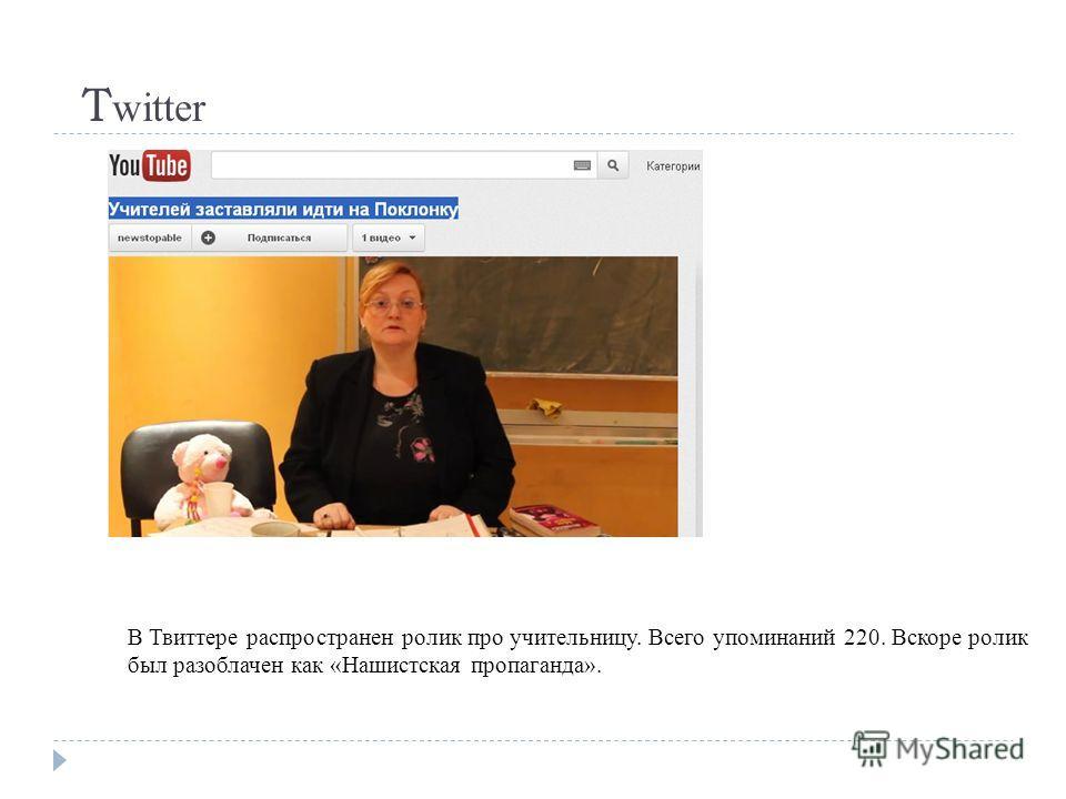 T witter В Твиттере распространен ролик про учительницу. Всего упоминаний 220. Вскоре ролик был разоблачен как «Нашистская пропаганда».