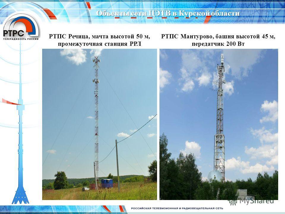 РТПС Речица, мачта высотой 50 м, промежуточная станция РРЛ РТПС Мантурово, башня высотой 45 м, передатчик 200 Вт Объекты сети ЦЭТВ в Курской области