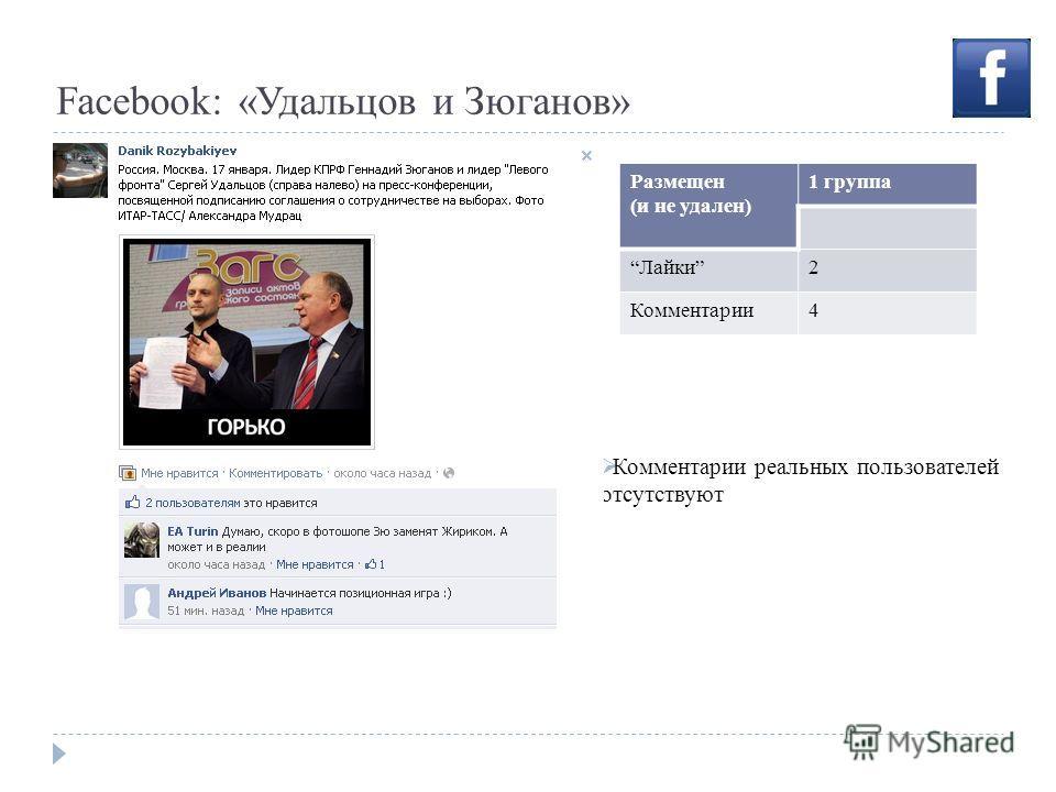 Facebook: «Удальцов и Зюганов» Комментарии реальных пользователей отсутствуют Размещен (и не удален) 1 группа Лайки2 Комментарии4