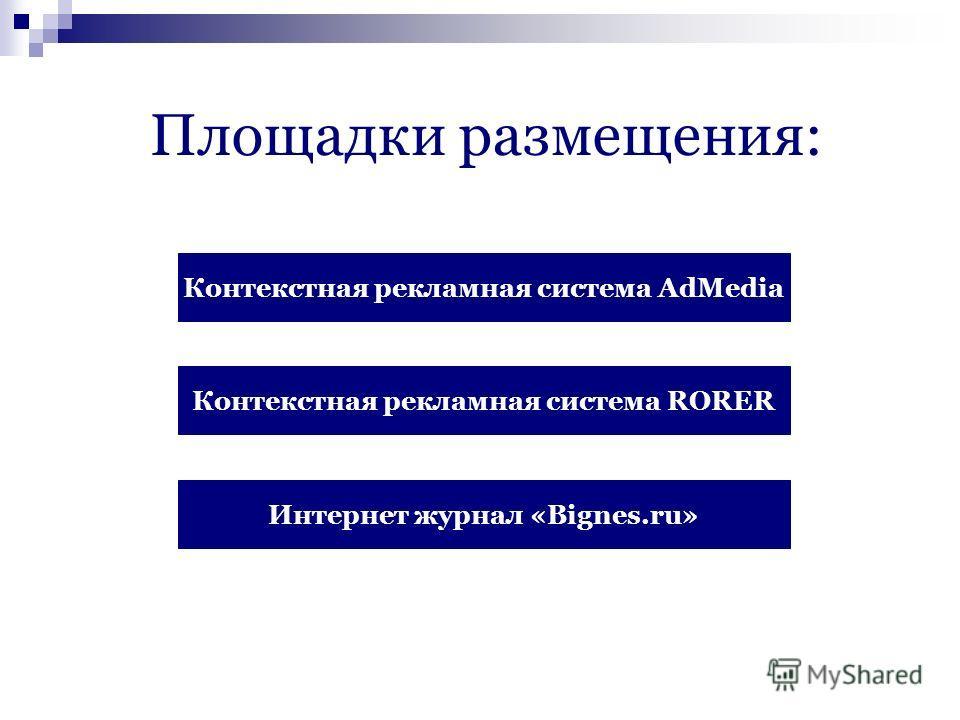 Площадки размещения: Контекстная рекламная система AdMedia Контекстная рекламная система RORER Интернет журнал «Bignes.ru»