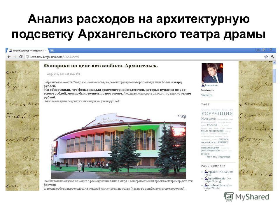 Анализ расходов на архитектурную подсветку Архангельского театра драмы