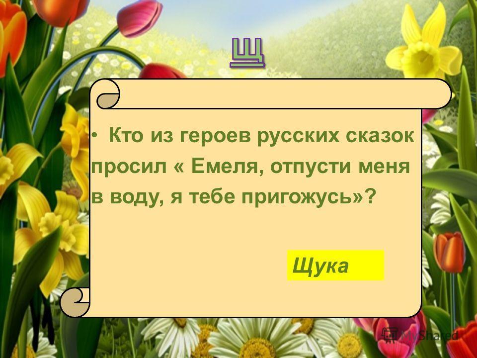 Кто из героев русских сказок просил « Емеля, отпусти меня в воду, я тебе пригожусь»? Щука