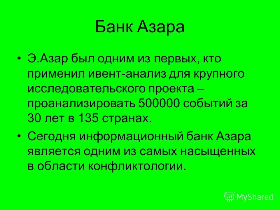 Банк Азара Э.Азар был одним из первых, кто применил ивент-анализ для крупного исследовательского проекта – проанализировать 500000 событий за 30 лет в 135 странах. Сегодня информационный банк Азара является одним из самых насыщенных в области конфлик