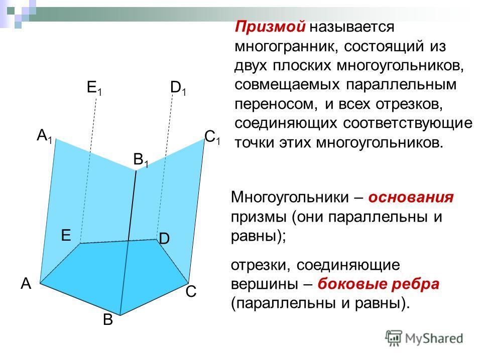 А В E A1A1 B1B1 D С Призмой называется многогранник, состоящий из двух плоских многоугольников, совмещаемых параллельным переносом, и всех отрезков, соединяющих соответствующие точки этих многоугольников. C1C1 D1D1 E1E1 Многоугольники – основания при