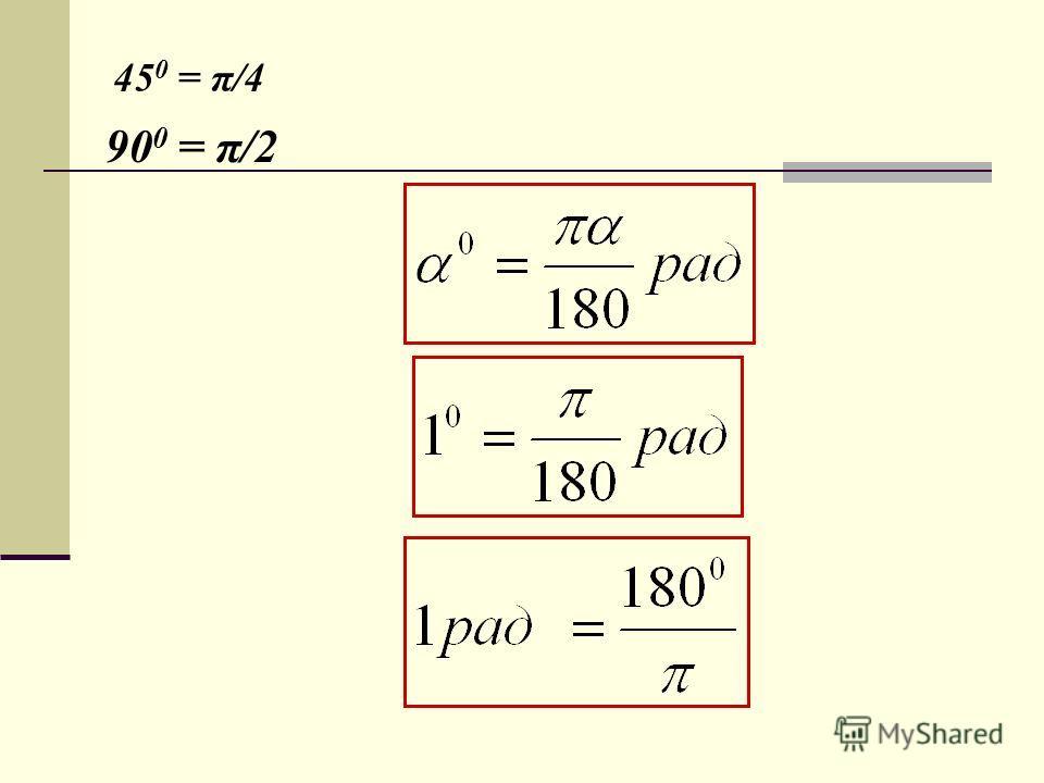 45 0 = π/4 90 0 = π/2