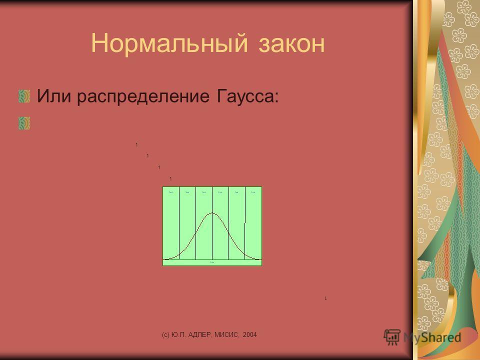 (c) Ю.П. АДЛЕР, МИСИС, 2004 Нормальный закон Или распределение Гаусса: 1 1 1 1 1 1 1 1