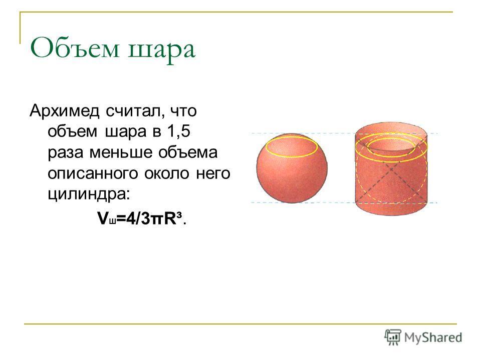 Объем шара Архимед считал, что объем шара в 1,5 раза меньше объема описанного около него цилиндра: V ш =4/3πR³.