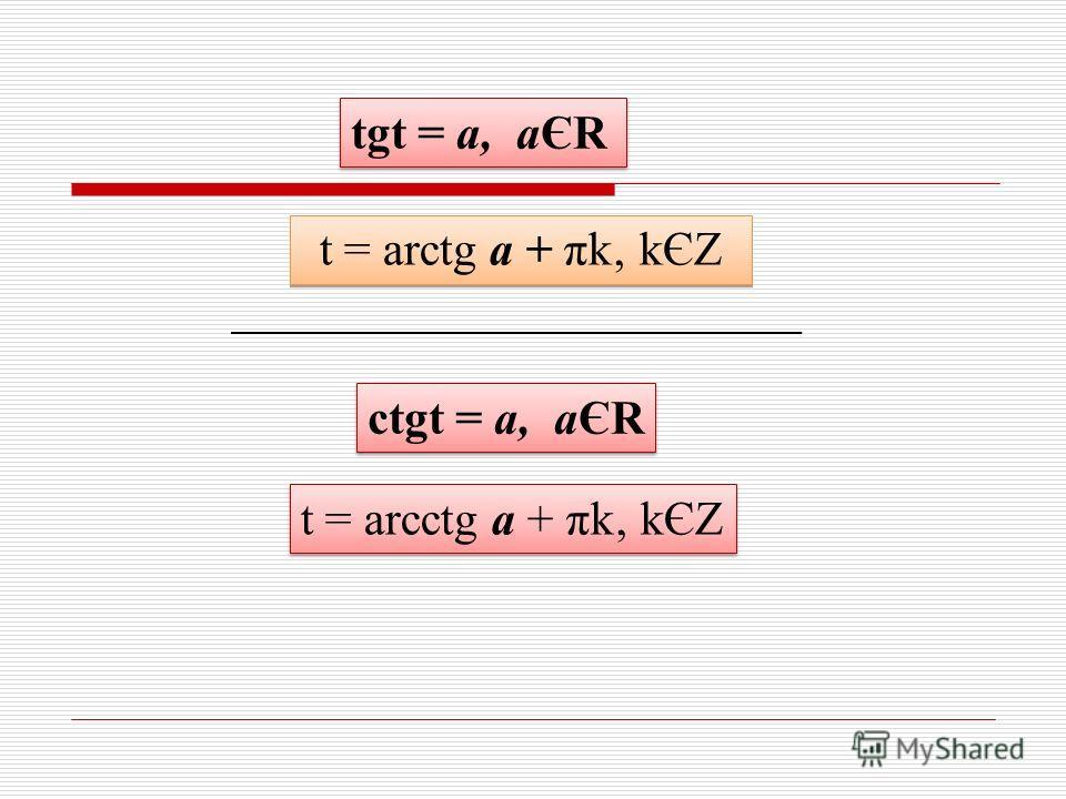 tgt = а, аЄR t = arctg а + πk kЄZ ctgt = а, аЄR t = arcctg а + πk kЄZ