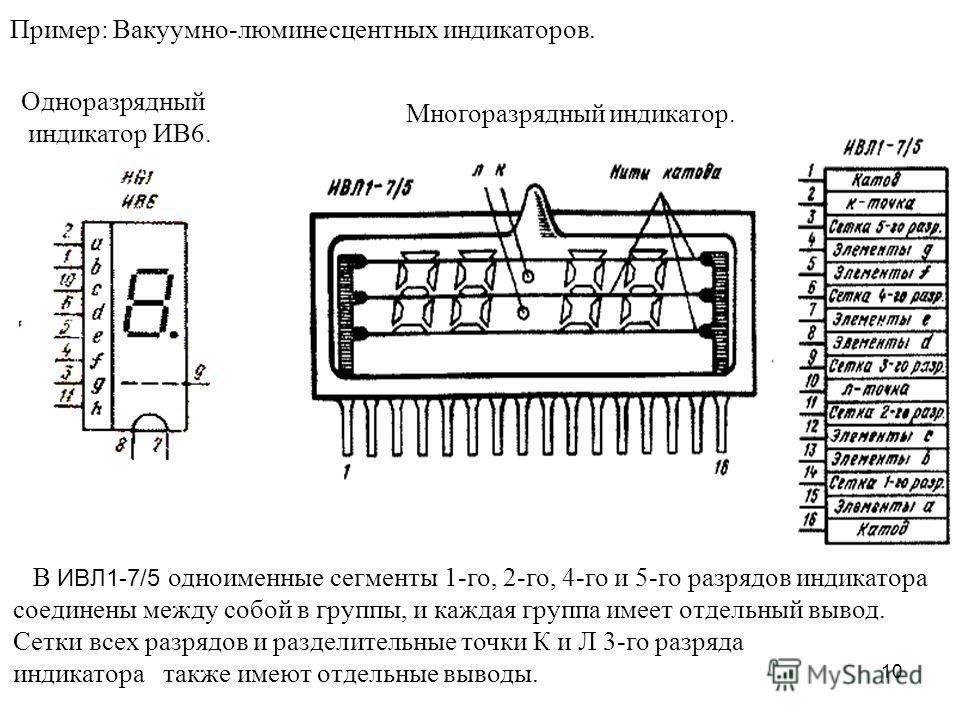 10 Пример: Вакуумно-люминесцентных индикаторов. В ИВЛ1-7/5 одноименные сегменты 1-го, 2-го, 4-го и 5-го разрядов индикатора соединены между собой в группы, и каждая группа имеет отдельный вывод. Сетки всех разрядов и разделительные точки К и Л 3-го р