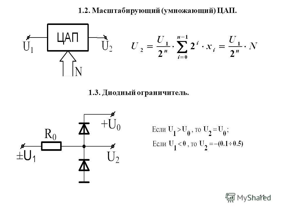 11 1.3. Диодный ограничитель. 1.2. Масштабирующий (умножающий) ЦАП.
