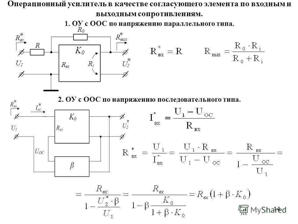 14 Операционный усилитель в качестве согласующего элемента по входным и выходным сопротивлениям. 1. ОУ с ООС по напряжению параллельного типа. 2. ОУ с ООС по напряжению последовательного типа.