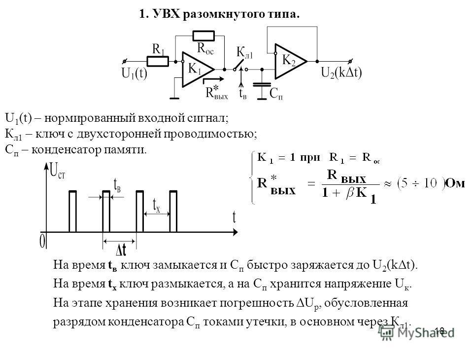 18 1. УВХ разомкнутого типа. На время t в ключ замыкается и С п быстро заряжается до U 2 (kΔt). На время t х ключ размыкается, а на С п хранится напряжение U к. На этапе хранения возникает погрешность ΔU p, обусловленная разрядом конденсатора С п ток