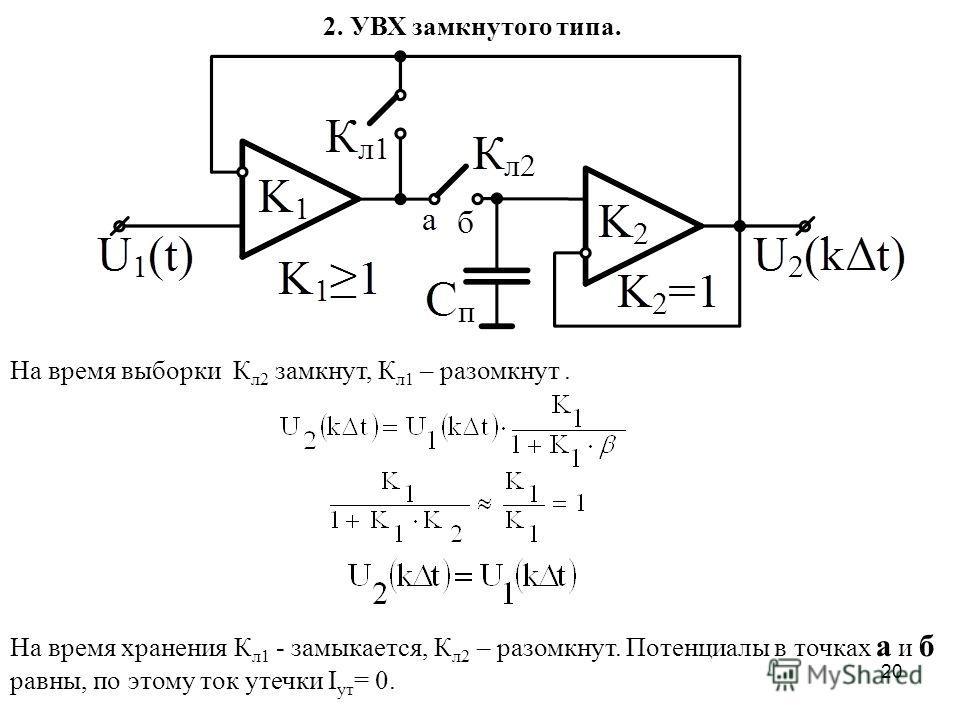20 2. УВХ замкнутого типа. На время выборки К л2 замкнут, К л1 – разомкнут. На время хранения К л1 - замыкается, К л2 – разомкнут. Потенциалы в точках а и б равны, по этому ток утечки I ут = 0.