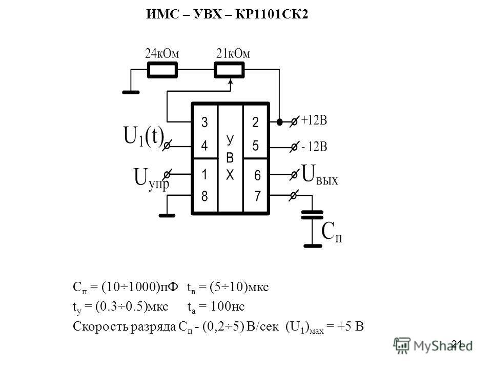 21 С п = (10÷1000)пФ t в = (5÷10)мкс t у = (0.3÷0.5)мкс t а = 100нс Скорость разряда С п - (0,2÷5) В/сек (U 1 ) мах = +5 В ИМС – УВХ – КР1101СК2